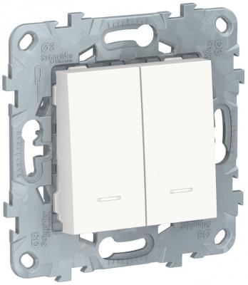 Schneider Electric Unica New Белый Переключатель 2-клавишный 2 модуля с подсветкой 2 х сх.6A купить в интернет-магазине Азбука Сантехники