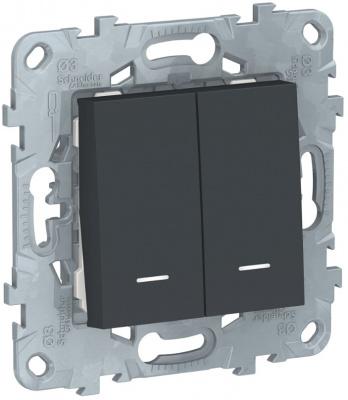 Schneider Electric Unica New Антрацит Переключатель 2-клавишный 2 модуля с подсветкой 2 х сх.6A купить в интернет-магазине Азбука Сантехники
