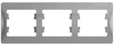 Schneider Electric Glossa Алюминий Рамка 3-постовая горизонтальная купить в интернет-магазине Азбука Сантехники