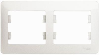 Schneider Electric Glossa Перламутр Рамка 2-постовая горизонтальная купить в интернет-магазине Азбука Сантехники