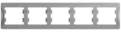 Schneider Electric Glossa Алюминий Рамка 5-постовая горизонтальная купить в интернет-магазине Азбука Сантехники