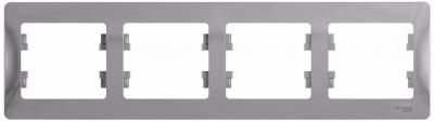Schneider Electric Glossa Алюминий Рамка 4-постовая горизонтальная купить в интернет-магазине Азбука Сантехники