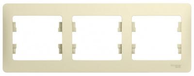 Schneider Electric Glossa Бежевый Рамка 3-постовая горизонтальная купить в интернет-магазине Азбука Сантехники