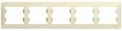 Schneider Electric Glossa Бежевый Рамка 5-постовая горизонтальная купить в интернет-магазине Азбука Сантехники