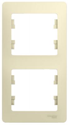 Schneider Electric Glossa Бежевый Рамка 2-постовая вертикальная купить в интернет-магазине Азбука Сантехники