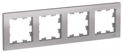 Schneider Electric AtlasDesign Алюминий Рамка 4-постовая универсальная купить в интернет-магазине Азбука Сантехники