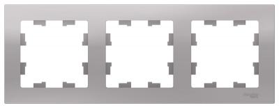 Schneider Electric AtlasDesign Алюминий Рамка 3-постовая универсальная купить в интернет-магазине Азбука Сантехники