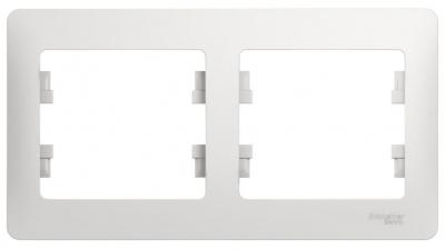 Schneider Electric Glossa Белый Рамка 2-постовая горизонтальная купить в интернет-магазине Азбука Сантехники