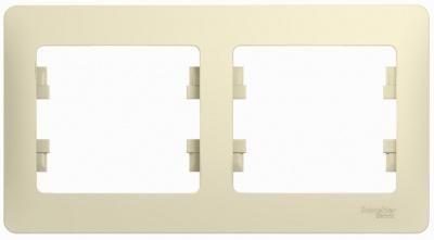 Schneider Electric Glossa Бежевый Рамка 2-постовая горизонтальная купить в интернет-магазине Азбука Сантехники