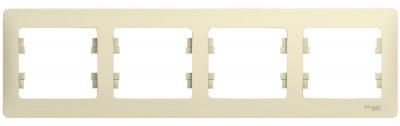 Schneider Electric Glossa Бежевый Рамка 4-постовая горизонтальная купить в интернет-магазине Азбука Сантехники