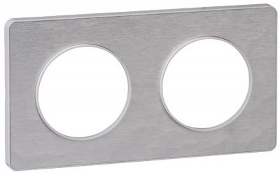 Schneider Electric Odace Алюминий Мартель/Белый Рамка 2 поста купить в интернет-магазине Азбука Сантехники