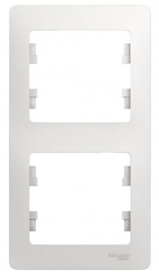 Schneider Electric Glossa Белый Рамка 2-постовая вертикальная купить в интернет-магазине Азбука Сантехники