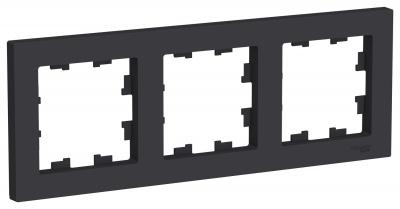 Schneider Electric AtlasDesign Карбон Рамка 3-постовая универсальная купить в интернет-магазине Азбука Сантехники
