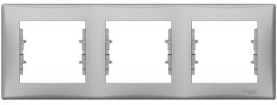 Schneider Electric Sedna Алюминий Рамка 3-постовая горизонтальная купить в интернет-магазине Азбука Сантехники