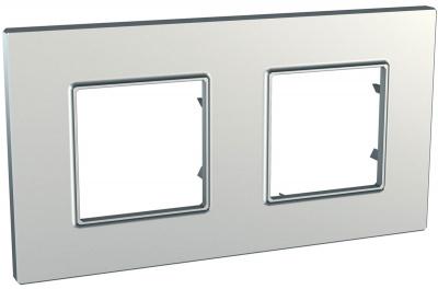 Schneider Electric Unica Quadro Metallized Серебро Рамка 2-ая купить в интернет-магазине Азбука Сантехники