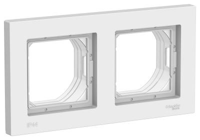 Schneider Electric AtlasDesign AQUA Белый Рамка 2-постовая IP44 купить в интернет-магазине Азбука Сантехники