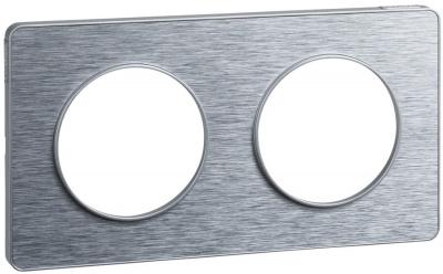 Schneider Electric Odace Полированный Алюминий/Алюминий Рамка 2 поста купить в интернет-магазине Азбука Сантехники