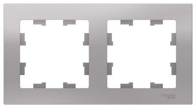 Schneider Electric AtlasDesign Алюминий Рамка 2-постовая универсальная купить в интернет-магазине Азбука Сантехники