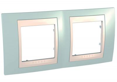 Schneider Electric Unica Хамелеон Морская волна/Бежевый Рамка 2-ая горизонтальная купить в интернет-магазине Азбука Сантехники