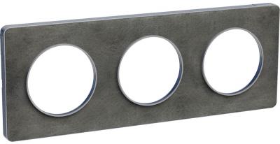Schneider Electric Odace Сланец/Алюминий Рамка 3 поста купить в интернет-магазине Азбука Сантехники