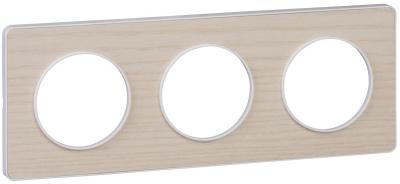 Schneider Electric Odace Бук/Белый Рамка 3 поста купить в интернет-магазине Азбука Сантехники