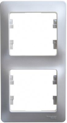 Schneider Electric Glossa Алюминий Рамка 2-постовая вертикальная купить в интернет-магазине Азбука Сантехники