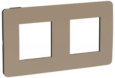 Schneider Electric Unica New Studio Color Песочный/Антрацит Рамка 2-постовая (NU280428) купить в интернет-магазине Азбука Сантехники