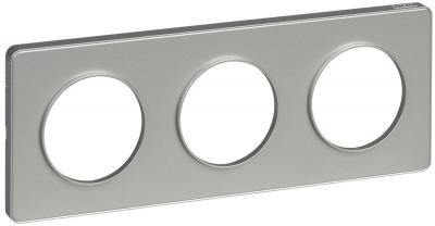 Schneider Electric Odace Алюминий/Алюминий Рамка 3 поста купить в интернет-магазине Азбука Сантехники