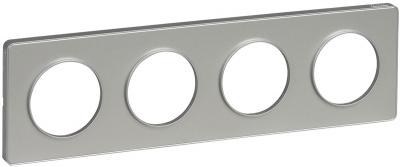 Schneider Electric Odace Алюминий/Алюминий Рамка 4 поста купить в интернет-магазине Азбука Сантехники