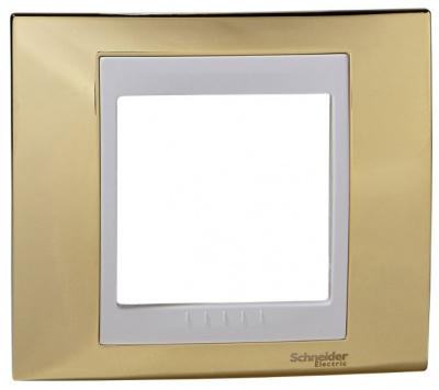 Schneider Electric Unica Хамелеон Золото/Белый Рамка 1-ая купить в интернет-магазине Азбука Сантехники