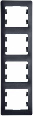 Schneider Electric Glossa Антрацит Рамка 4-постовая горизонтальная купить в интернет-магазине Азбука Сантехники