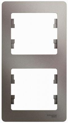 Schneider Electric Glossa Платина Рамка 2-постовая вертикальная купить в интернет-магазине Азбука Сантехники