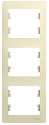 Schneider Electric Glossa Бежевый Рамка 3-постовая вертикальная купить в интернет-магазине Азбука Сантехники
