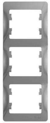 Schneider Electric Glossa Алюминий Рамка 3-постовая вертикальная купить в интернет-магазине Азбука Сантехники