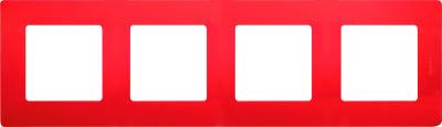 Legrand Etika Красный Рамка 4 поста купить в интернет-магазине Азбука Сантехники