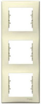 Schneider Electric Sedna Бежевый Рамка 3-постовая вертикальная купить в интернет-магазине Азбука Сантехники