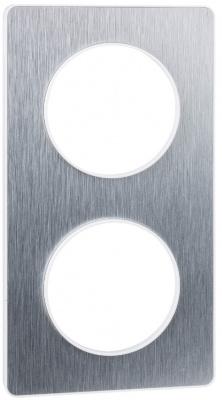 Schneider Electric Odace Полированный Алюминий/Белый Рамка 2 поста купить в интернет-магазине Азбука Сантехники
