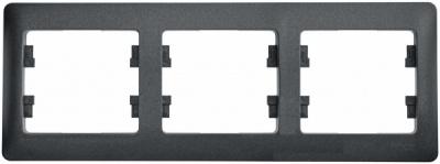 Schneider Electric Glossa Антрацит Рамка 3-постовая горизонтальная купить в интернет-магазине Азбука Сантехники