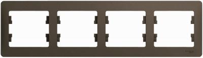 Schneider Electric Glossa Шоколад Рамка 4-постовая горизонтальная купить в интернет-магазине Азбука Сантехники