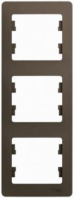 Schneider Electric Glossa Шоколад Рамка 3-постовая вертикальная купить в интернет-магазине Азбука Сантехники
