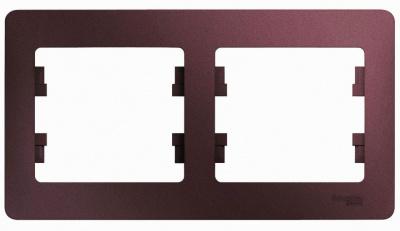 Schneider Electric Glossa Баклажановый Рамка 2-постовая горизонтальная купить в интернет-магазине Азбука Сантехники