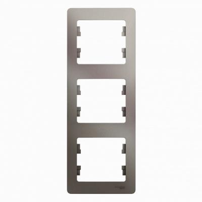 Schneider Electric Glossa Платина Рамка 3-постовая вертикальная купить в интернет-магазине Азбука Сантехники
