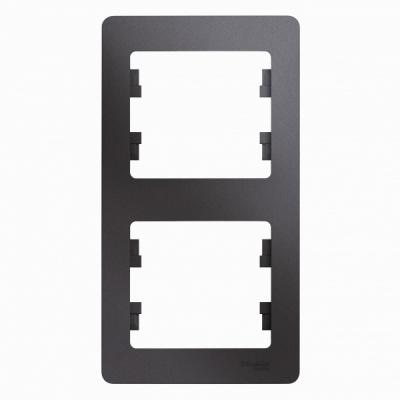 Schneider Electric Glossa Графит Рамка 2-постовая вертикальная купить в интернет-магазине Азбука Сантехники