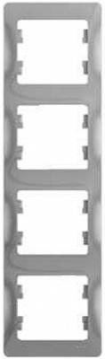 Schneider Electric Glossa Алюминий Рамка 4-постовая вертикальная купить в интернет-магазине Азбука Сантехники