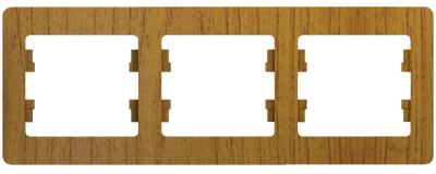 Schneider Electric Glossa Дуб Рамка 3-постовая горизонтальная купить в интернет-магазине Азбука Сантехники