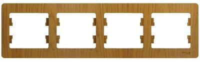 Schneider Electric Glossa Дуб Рамка 4-постовая горизонтальная купить в интернет-магазине Азбука Сантехники