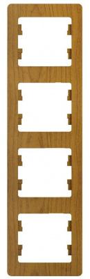Schneider Electric Glossa Дуб Рамка 4-постовая вертикальная купить в интернет-магазине Азбука Сантехники