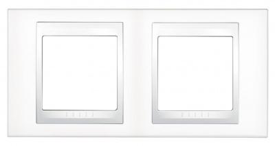 Schneider Electric Unica Хамелеон Белый/Белый Рамка 2-ая горизонтальная купить в интернет-магазине Азбука Сантехники