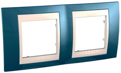 Schneider Electric Unica Хамелеон Голубой лед/Бежевый Рамка 2-ая горизонтальная купить в интернет-магазине Азбука Сантехники