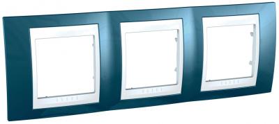 Schneider Electric Unica Хамелеон Голубой лед/Белый Рамка 3-ая горизонтальная купить в интернет-магазине Азбука Сантехники